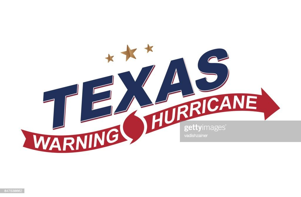 Warning Hurricane In Texas Symbols With Arrows On A White Background