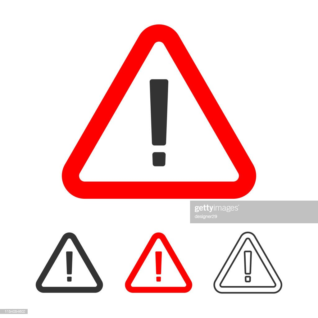 Warning Icon, Exclamation Point Sign in Red Triangle Flat Design. : stock illustration