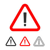 Warning Icon, Exclamation Point Sign in Red Triangle Flat Design.