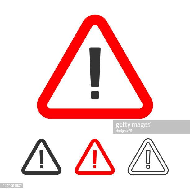 warning icon, exclamation point sign in red triangle flat design. - exclamation mark stock illustrations