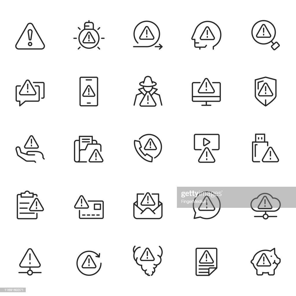 Warning icon set : stock illustration