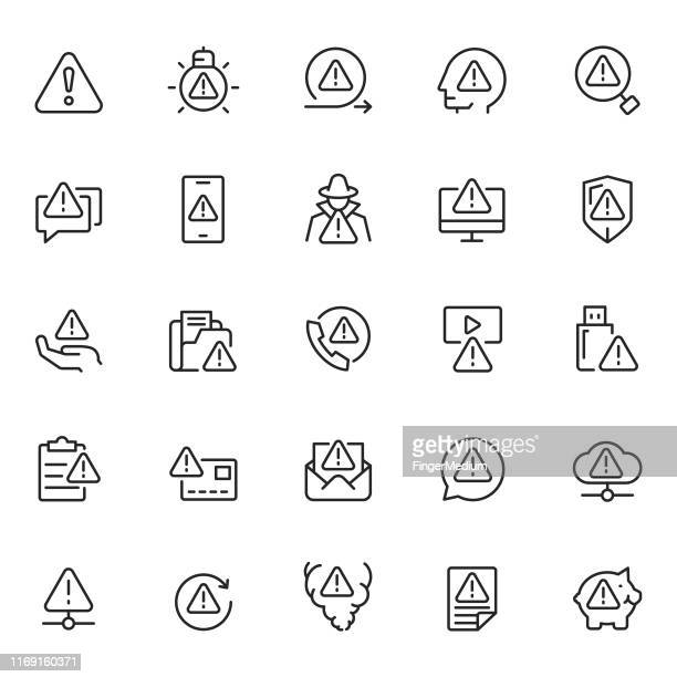 warning icon set - problems stock illustrations