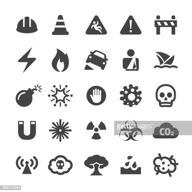 warning icons - smart series - radioactive contamination stock illustrations