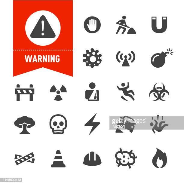 illustrations, cliparts, dessins animés et icônes de icônes d'avertissement - série spéciale - risques liés à une activité