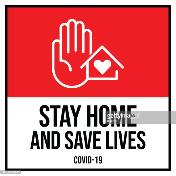 warning in a red sign about coronavirus or covid-19 vector illustration - stay at home order stock illustrations