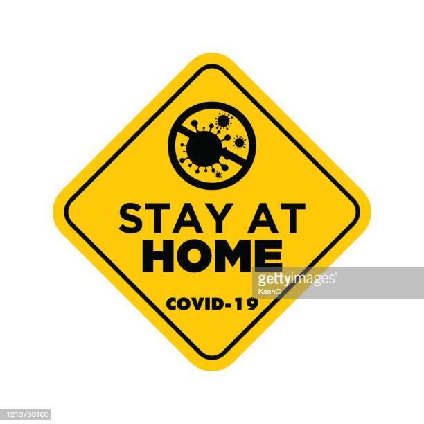 コロナウイルスまたはcovid-19ベクターイラストのストックイラストに関する黄色の標識の警告 - 主婦業点のイラスト素材/クリップアート素材/マンガ素材/アイコン素材