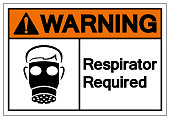 Warning Respirator Required Symbol Sign ,Vector Illustration, Isolate On White Background Label .EPS10