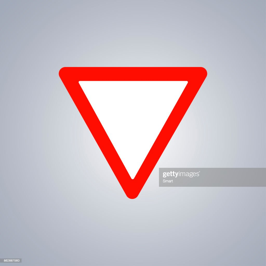Warning road sign on grey background, red triangle. Make way. Vector Illustration
