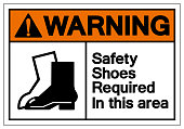 Warning Safety Shoes Required In This Area Symbol Sign, Vector Illustration, Isolated On White Background Label .EPS10