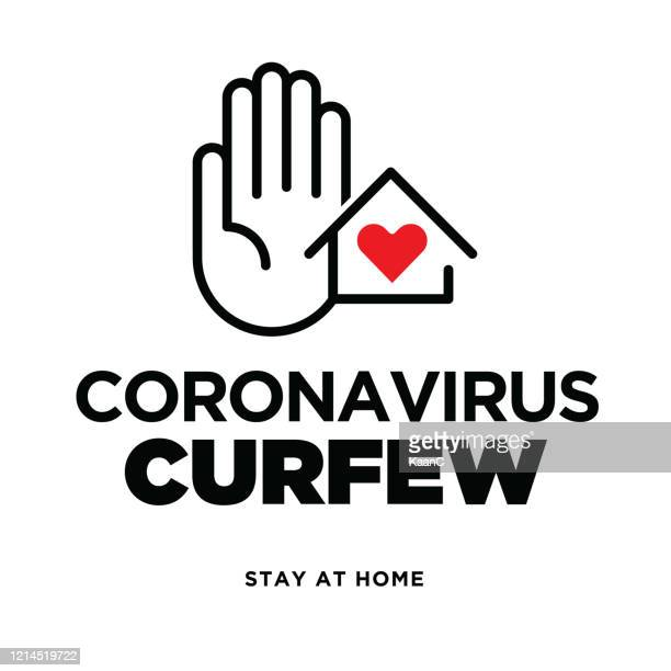 warning sign about coronavirus or covid-19 vector illustration - curfew stock illustrations