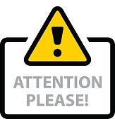 warning sign attention please vector