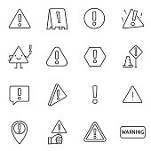 Warning sign, icon set. attention , linear icons. Line with editable stroke