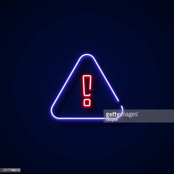 illustrazioni stock, clip art, cartoni animati e icone di tendenza di warning sign neon style, design elements - pericolo