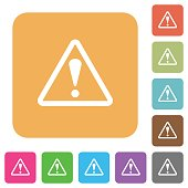 Warning sign rounded square flat icons