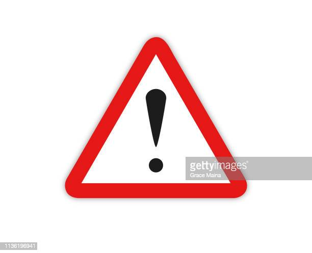 warning sign symbol with exclamation mark icon  - vector - exclamation mark stock illustrations