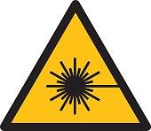 Warning sign WARNING FOR LASER BEAM
