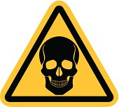 Warning sign with skull.