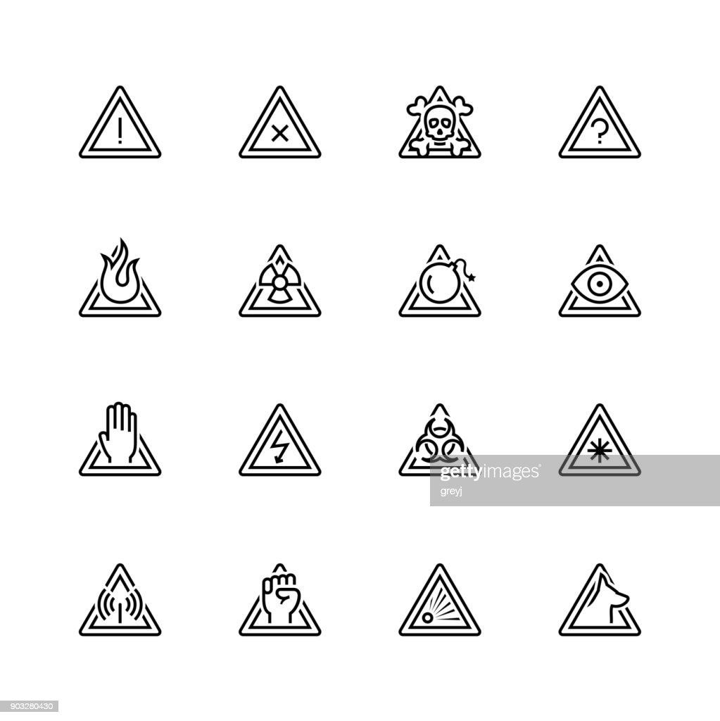 Warning signs vector icon set in thin line style