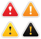 Warning sticker triangle label satin icon web button shadow