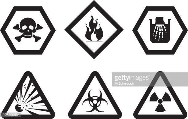 ilustraciones, imágenes clip art, dibujos animados e iconos de stock de símbolos de advertencia - arma biológica
