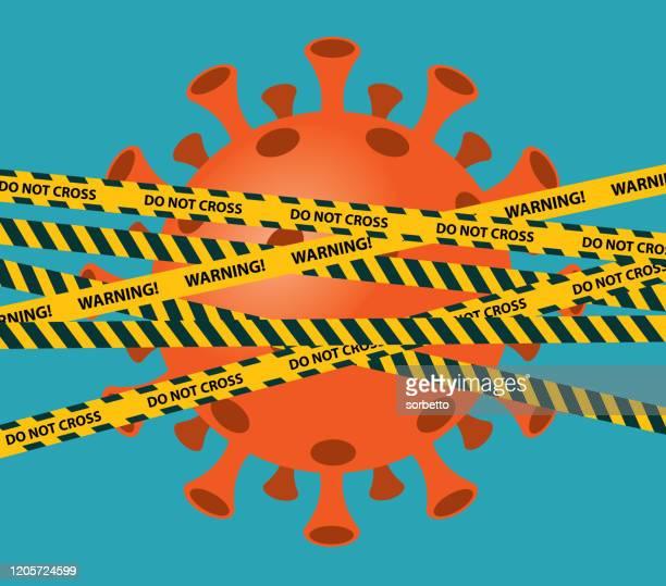 ilustrações, clipart, desenhos animados e ícones de fitas de aviso - coronavírus - proibido