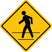 Warning traffic, Pedestrian traffic road sign
