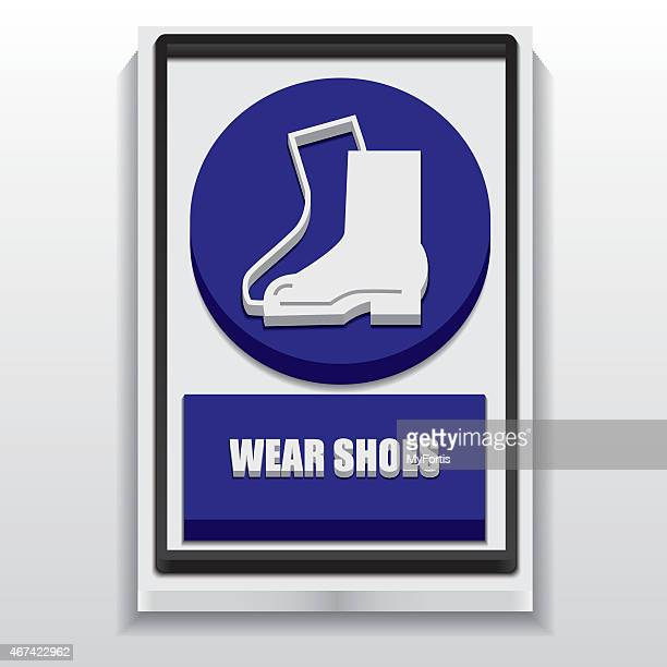 3d warning were shoes sign - safety american football player stock illustrations, clip art, cartoons, & icons