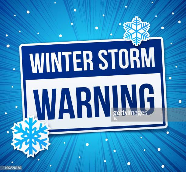 warning winter storm - blizzard stock illustrations