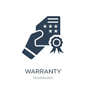 warranty certificate icon vector on white background, warranty certificate trendy filled icons from Technology collection, warranty certificate vector illustration