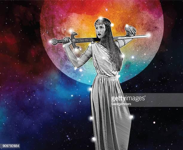 warrior goddess constellation with full moon - goddess stock illustrations