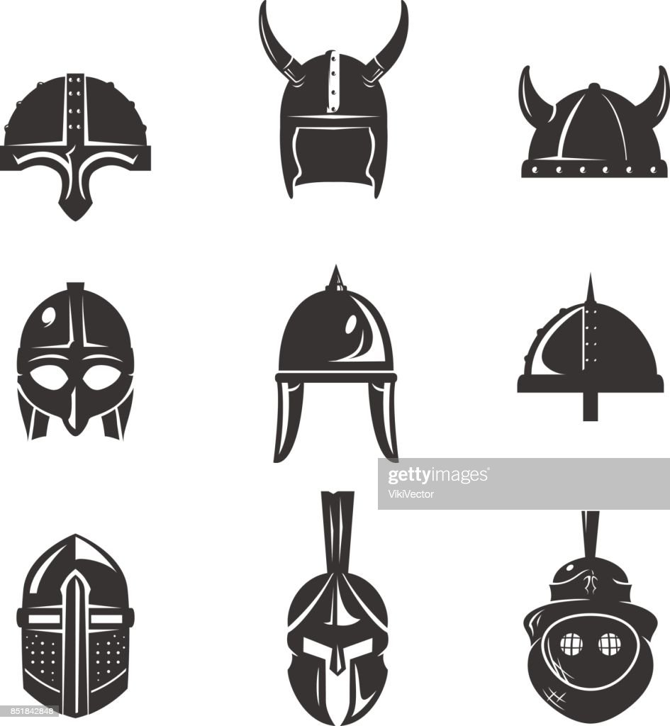 Warrior helmet flat icon set
