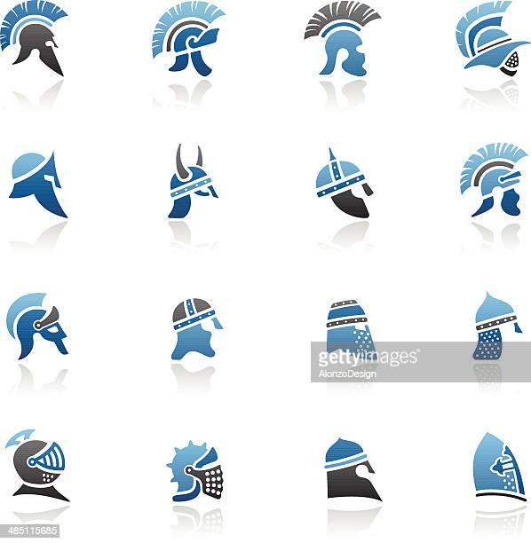 warrior helmet icon set - sparta greece stock illustrations, clip art, cartoons, & icons