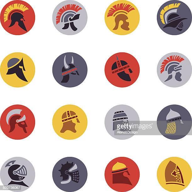 warrior helmet icon set - cavalier cavalry stock illustrations, clip art, cartoons, & icons