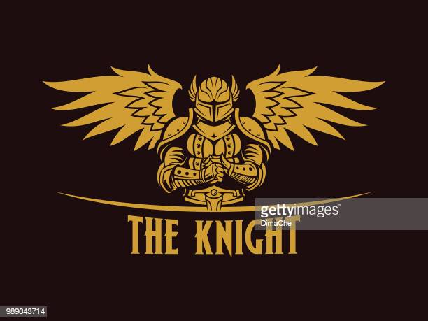 warrior knight with wings silhouette - gladiator stock illustrations, clip art, cartoons, & icons