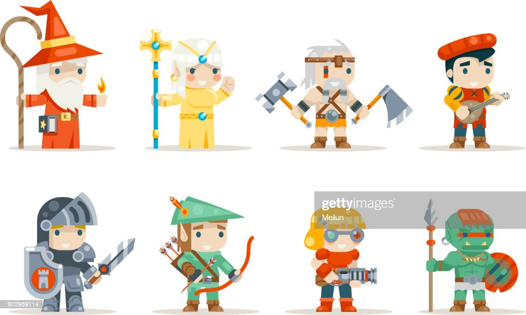 Warrior mage elf priest archer barbarian berseker bard tribal orc engeneer inventor rifleman fantasy RPG game characters isolated icons set vector illustration