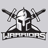 Warrior mascot for sport teams. Helmet with swords, logo, symbol