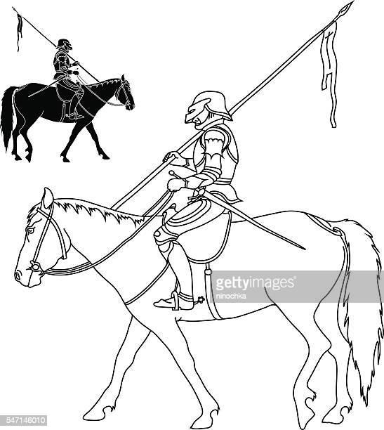 warrior on horse - army helmet stock illustrations, clip art, cartoons, & icons