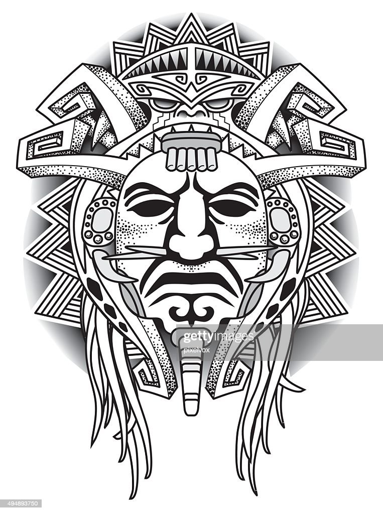 Warrior Tribal Mask Vector illustration