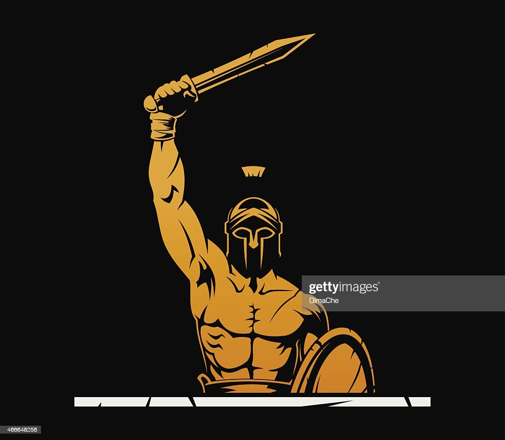 Warrior with sword : stock illustration