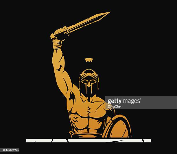 warrior with sword - greek culture stock illustrations, clip art, cartoons, & icons
