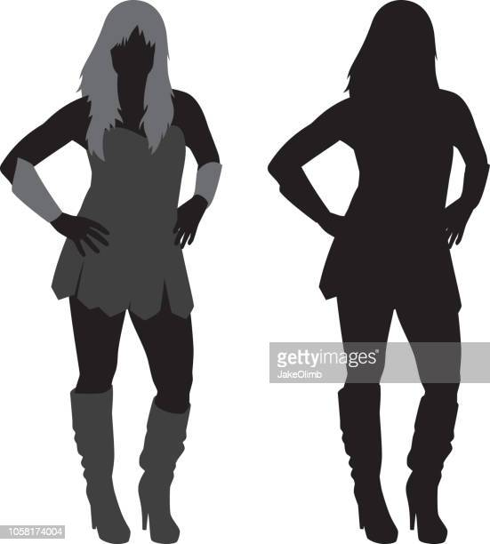 warrior woman silhouette - medieval shoes stock illustrations