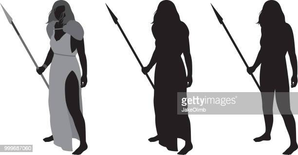 warrior woman silhouette - warrior person stock illustrations, clip art, cartoons, & icons