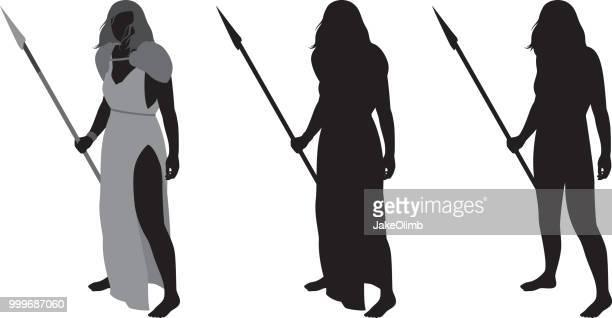 戦士の女性のシルエット
