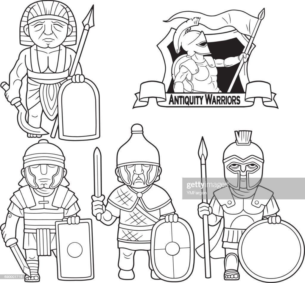 warriors of antique era set of images