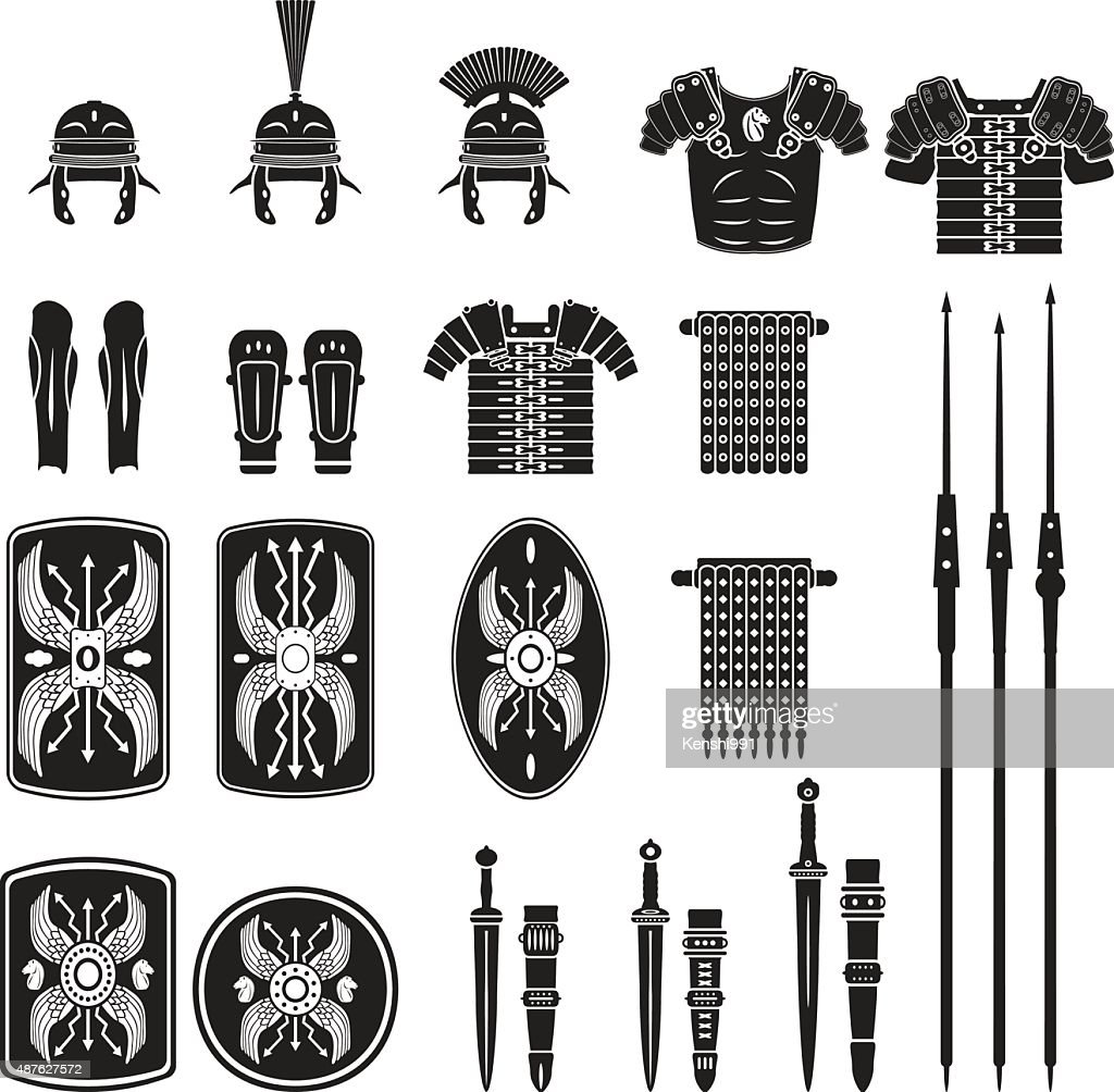 Warriors series - Roman army equipment vector