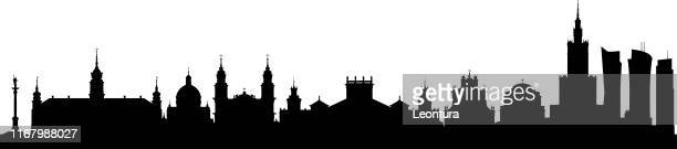 warsaw skyline (all buildings are complete and moveable) - poland stock illustrations