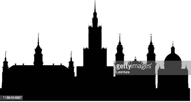 warschau skyline (alle gebäude sind vollständig und beweglich) - warschau stock-grafiken, -clipart, -cartoons und -symbole