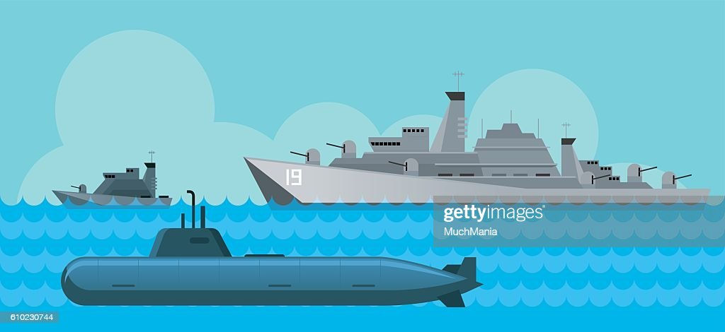 Warship and Submarine, Side View in the Sea