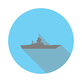 Warship flat icon. Army sign. Notebook, Calendar and web signs icon. Download icon for apps and websites icon