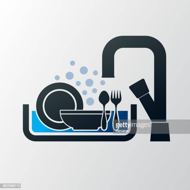 wash dishes - washing dishes stock illustrations, clip art, cartoons, & icons